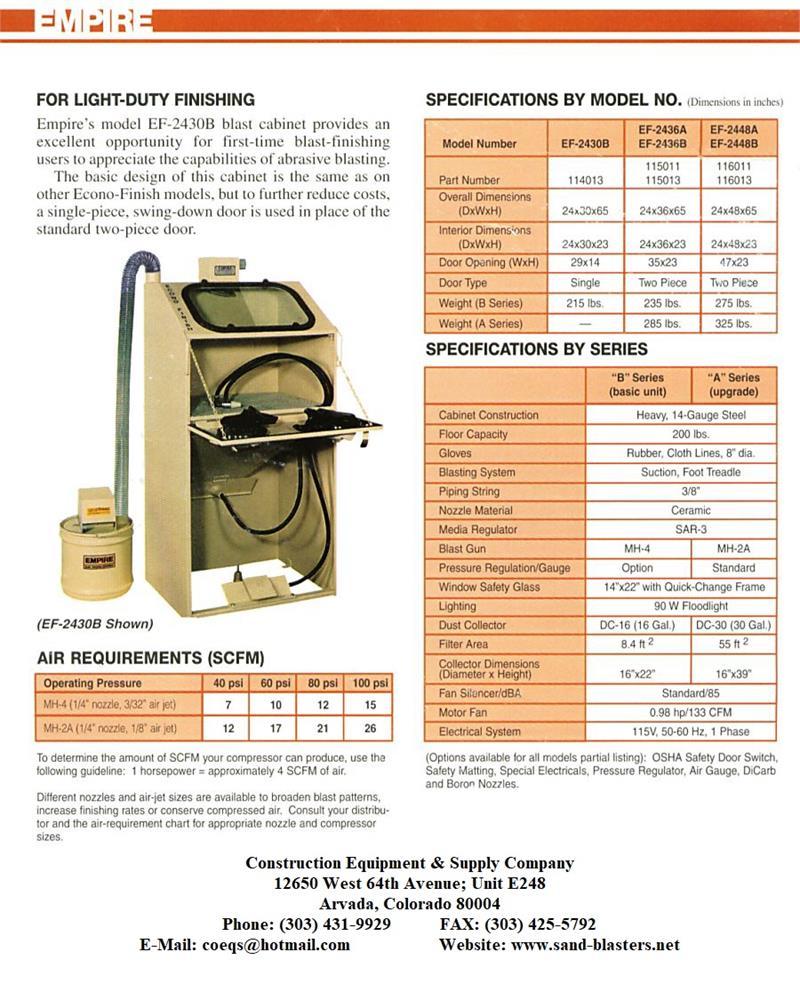 EMPIRE Model EF-2430B Econo-Finish Suction Blast Cabinet